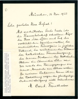 Kondolenzschreiben des Münchner Erzbischof Michael Kardinal von Faulhaber