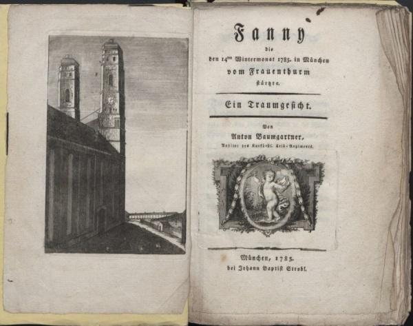 Todessturz der Fanny von Ickstadt vom Nordturm der Münchner Frauenkirche. Kupferstich, 1785