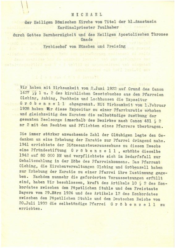 Finanzkammer Errichtung Pfarrei Gröbenzell 01