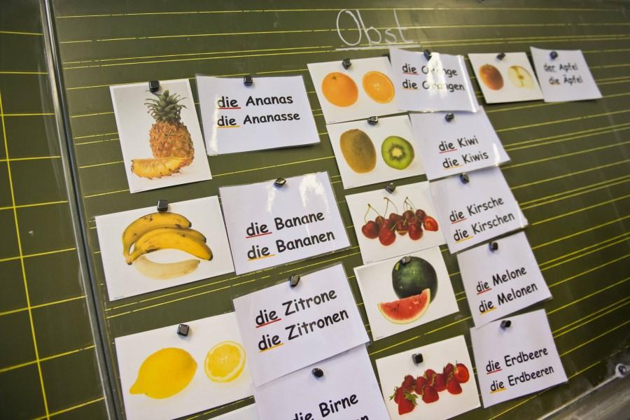 Tafel mit Bildern von Obst und Gemüse und den bezeichnenden deutschen Wörter daneben