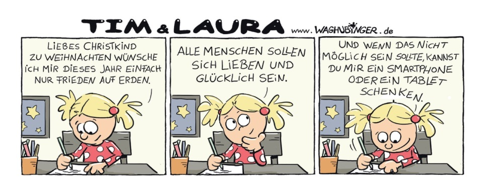 Laura wünscht Frieden oder Smartphone