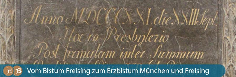 Grafik Vom Bistum Freising zum Erzbistum München und Freising