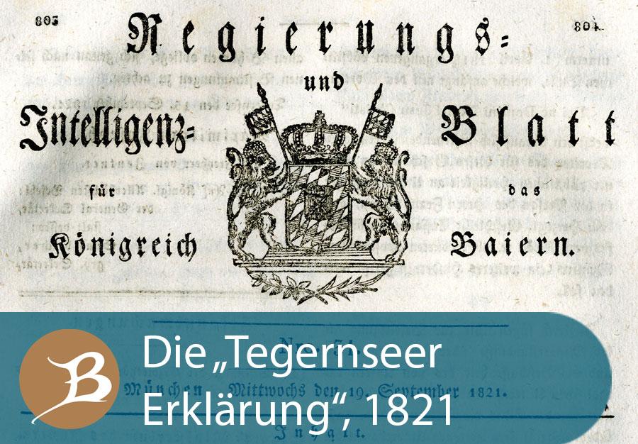 """Grafik Die """"Tegernseer Erklärung""""  1821"""