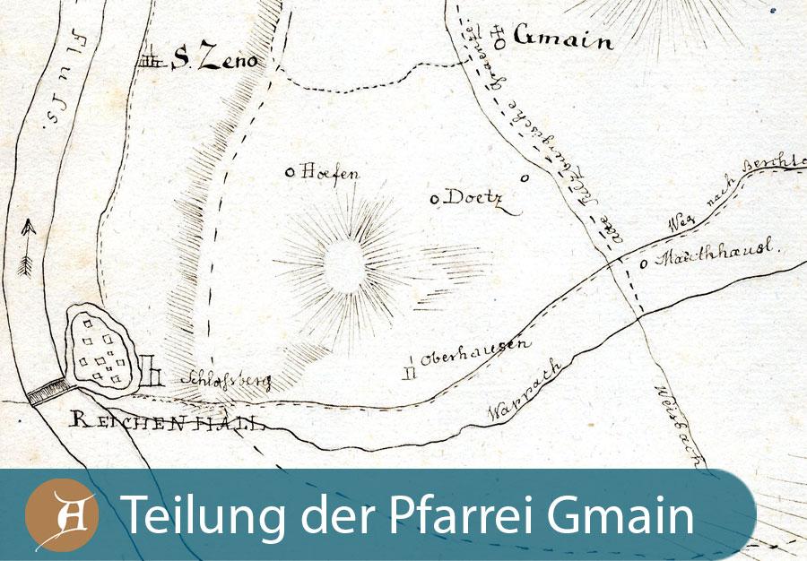 Grafik Teilung der Pfarrei Gmain