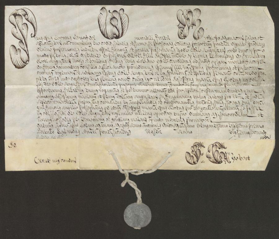 Pergamenturkunde mit Bleibulle an Hanfschnur, 27. Juni 1821