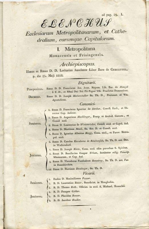 """""""Elenchus Ecclesiarum Metropolitanarum, et Cathedralium, earumque Capitulorum"""", in: Decretum et Bulla Novae circumscriptionis Dioecesium"""