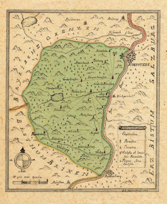 Handgezeichnete und kolorierte Karte von J.K. Heydenkampf, 1782