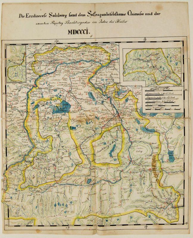Handgezeichnete und kolorierte Karte, 1801