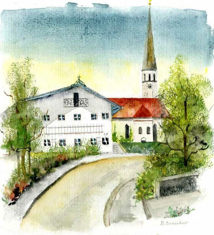 Gemaltes Bild von der Pfarrkirche Ostermünchen von Frau Brandner zum Jubiläum des Frauenbundes 2019