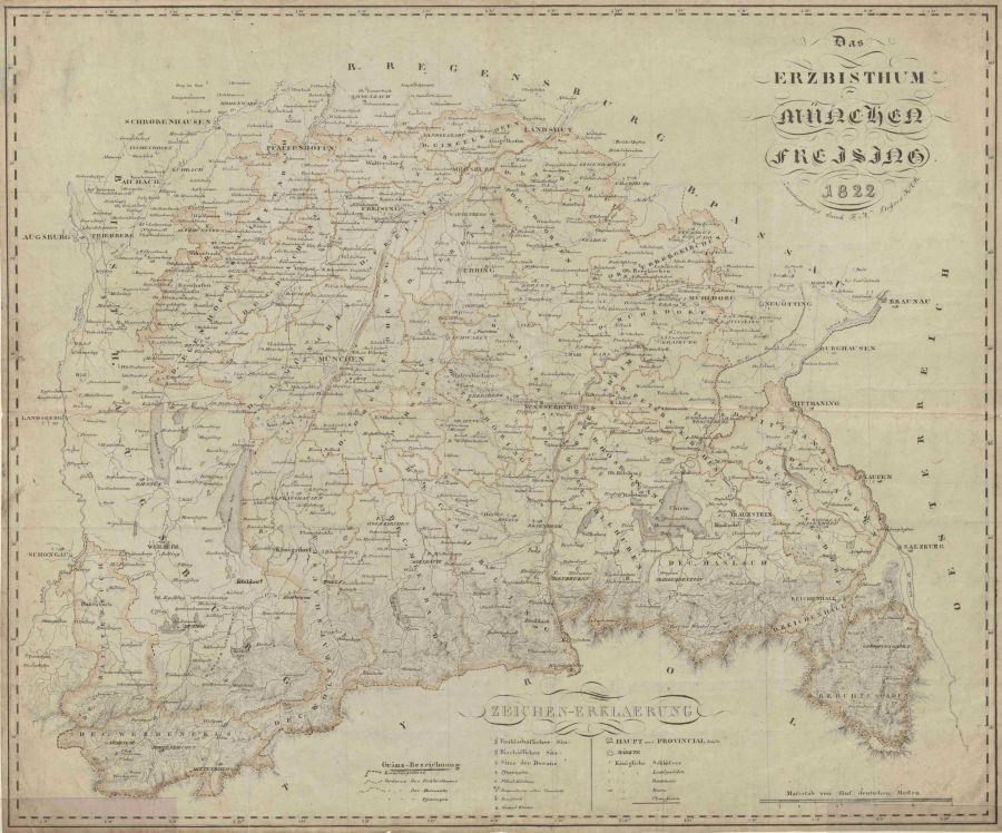 Das Erzbisthum München-Freising, aus: Nikolaus Deyrer, Kirchliche Eintheilung Baierns in 8 Blätter, 1822-1828
