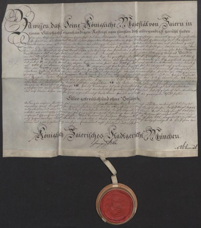 Pergamenturkunde mit Wachssiegel des Königlich Baierischen Stadtgerichts München, 27. Juni 1818