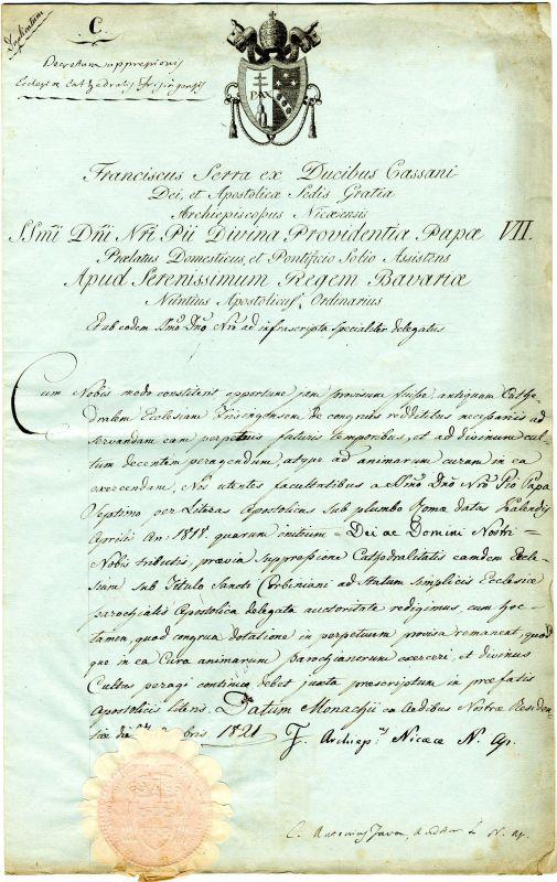 Dekret mit aufgedrücktem Papiersiegel, 27. Oktober 1821