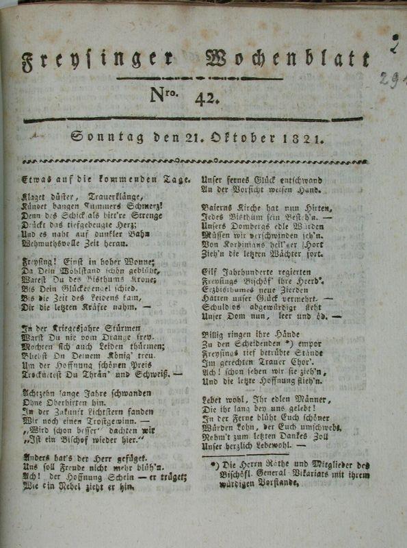 Freysinger Wochenblatt, Nr. 42 vom 21. Oktober 1821
