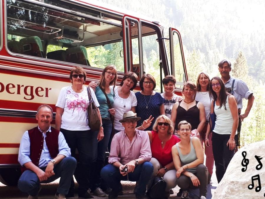 Gruppenfoto beim Chorausflug zur Kaiserklamm