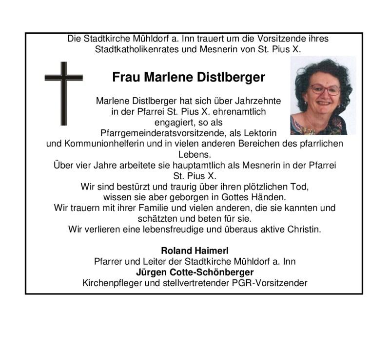 Todesanzeige Frau Marlene Distlberger