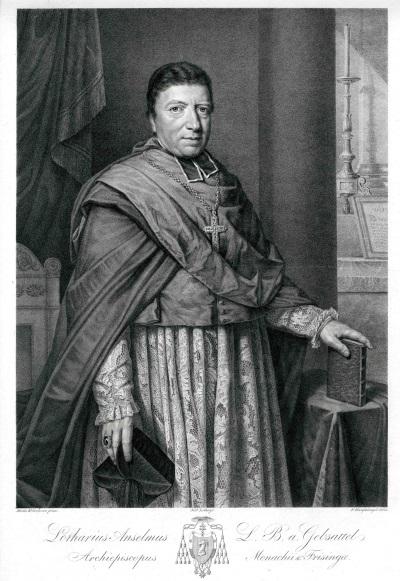 Lothar Anselm von Gebsattel, erster Erzbischof von München und Freising<br/>Lithografie von Franz Hanfstengl nach einem Gemälde von Moritz von Kellerhoven
