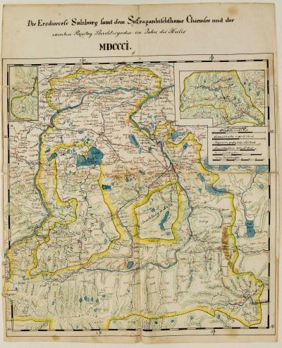 Das Erzbistum Salzburg kurz vor der Säkularisation<br/>handgezeichnete und kolorierte Karte, 1801
