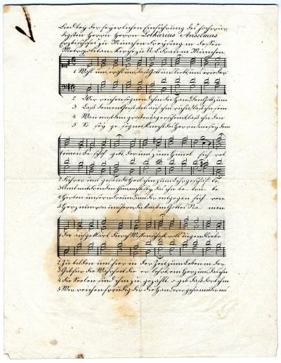 Lied der Schuljugend zur Amtseinführung<br/>gedrucktes Notenblatt
