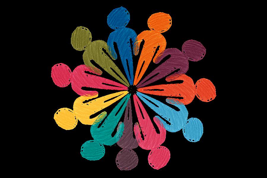 Kreis aus verschiedenfarbigen Personen