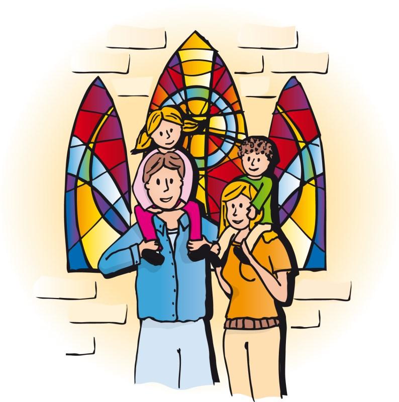 Familie aus Mutter, Vater und 2 Kindern in einer offenen Kirchentür