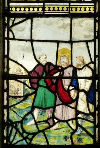 Kirchenfenster aus Buntglas, Darstellung: Gang nach Emmaus