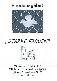 Plakat für das Friedensgebet im Mai 2021