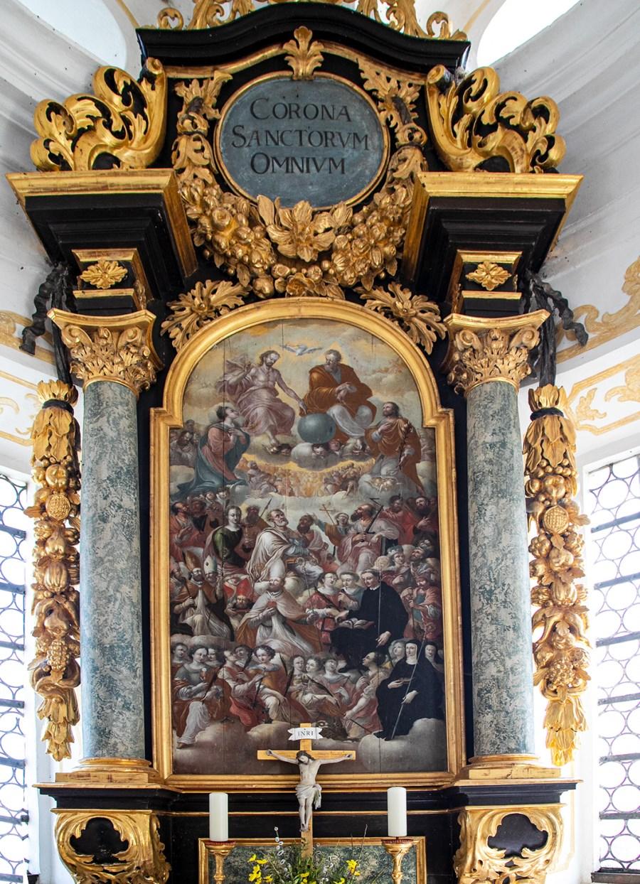 Altarbild der Allerheiligenkapelle mit der Darstellungen der 14 Nothelfer und der Hölle des jüngsten Gerichts