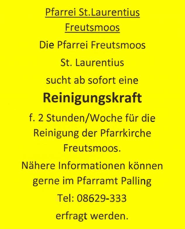 Stellenausschreibung Reinigungskraft Pfarrei St. Laurentius Freutsmoos