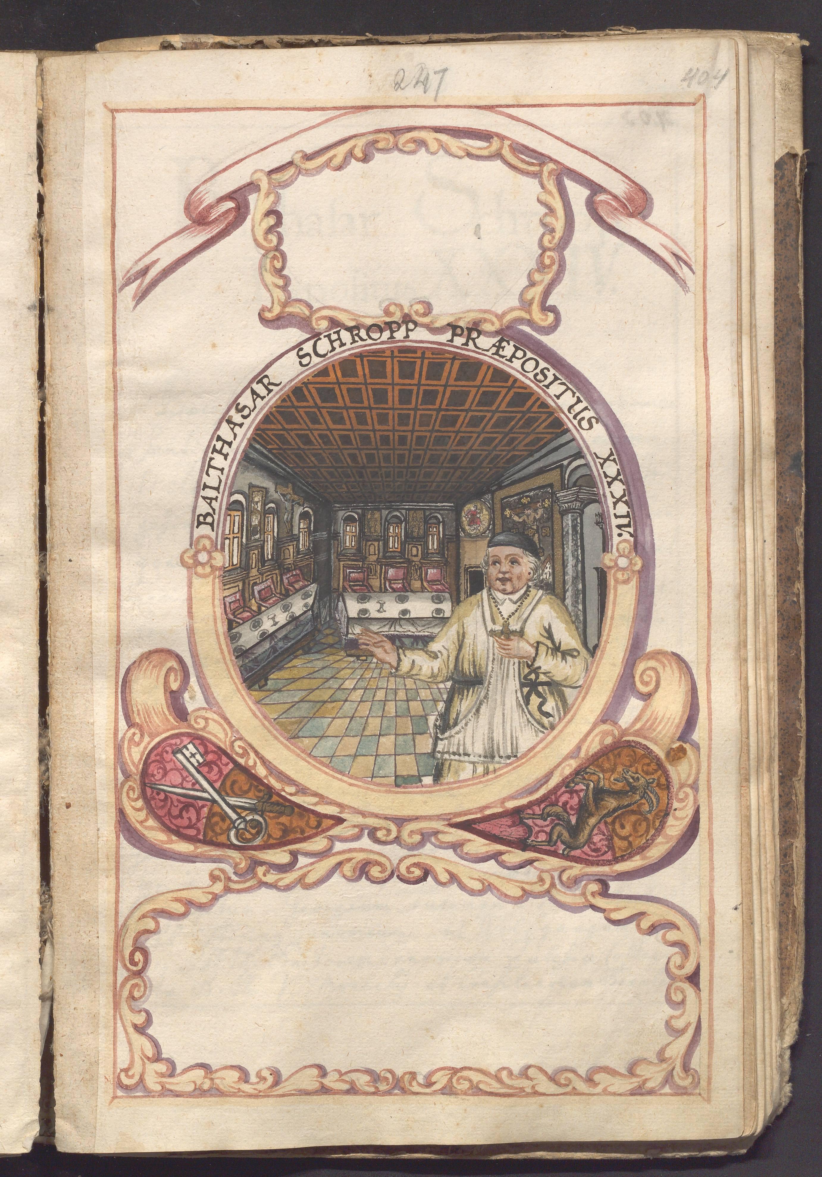 """Bildnis des Propstes Balthasar Schropp (1615-1619) mit Blick ins Refektorium des Klosters; Illustration aus der """"Historia Canoniae Beyrbergensis"""" von 1770"""