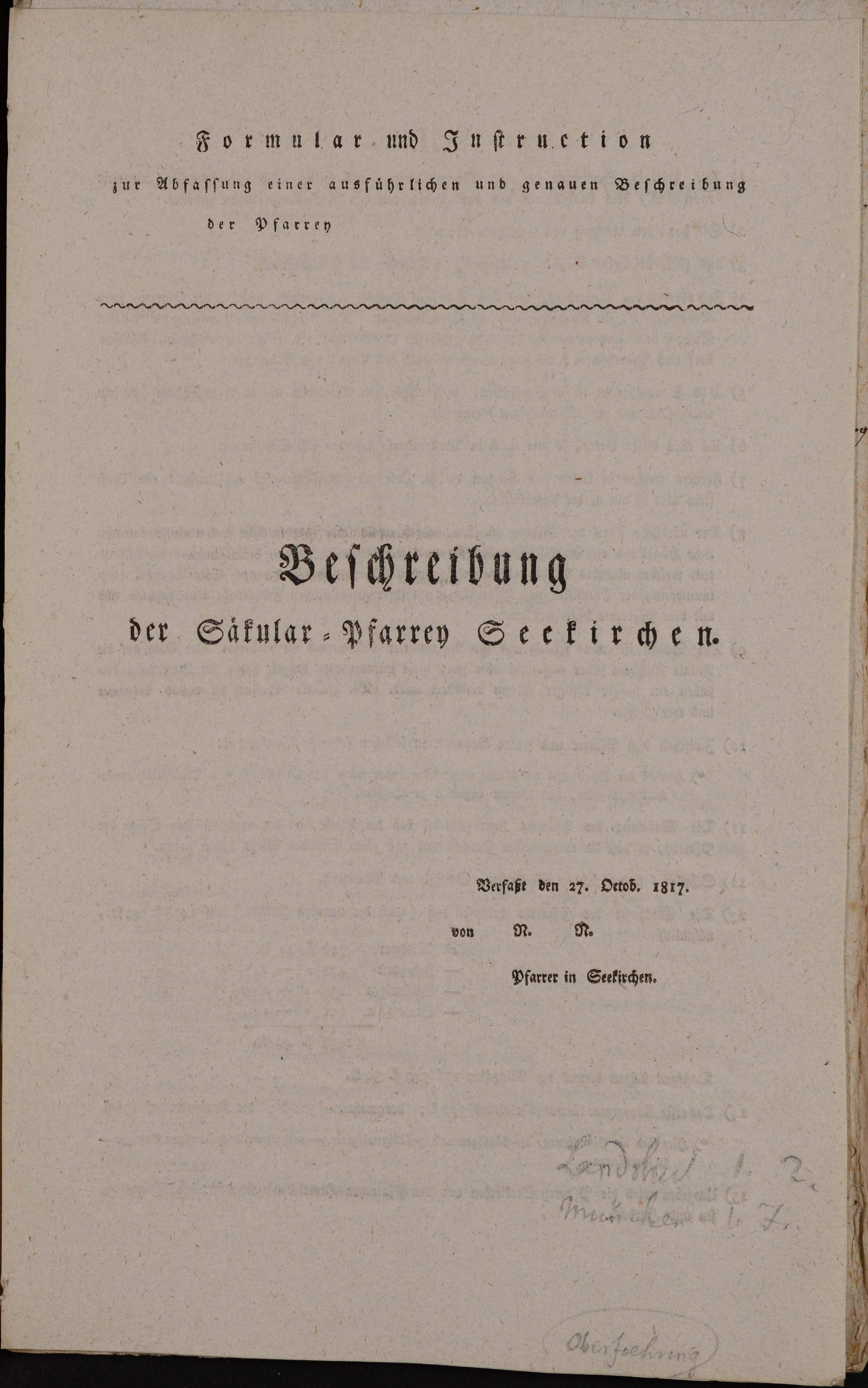 gedrucktes Formular und Instruktion zur Abfassung der Pfarrbeschreibungen, 1817