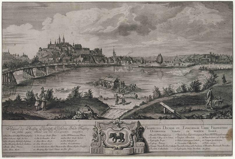 Auf dem Bild ist eine historische Ansicht des Freisinger Dombergs zu sehen.