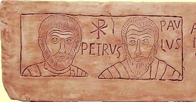 Petrus und Paulus, Gravur aus der Hippolyt-Katakombe (4. Jh.),Vatikanische Museen