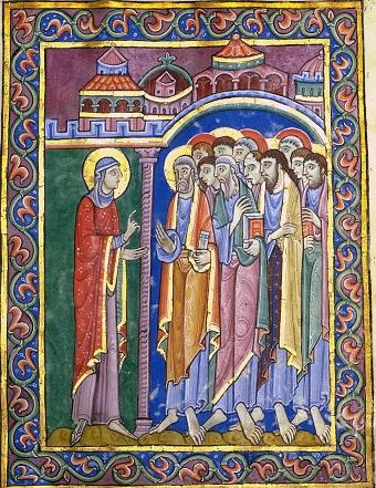 Maria Magdalena verkündet den Jüngern das Evangelium, Albani-Psalter, 12. Jh.