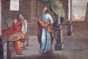 David und Nathan. Emporenbild von Daniel Hisgen in St. Michaelis Oberkleen, Landkreis Gießen, Hessen, Deutschland