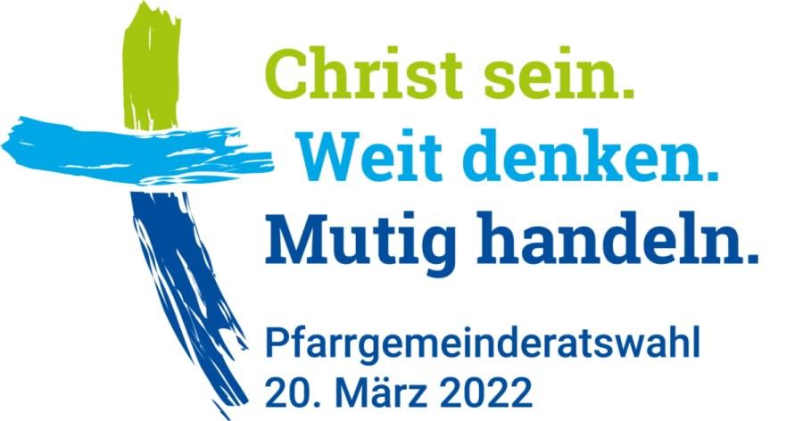 Christ sein<br/>Weit denken<br/>Mutig handeln<br/>Grafik des Mottos zur PGR-Wahl 2022