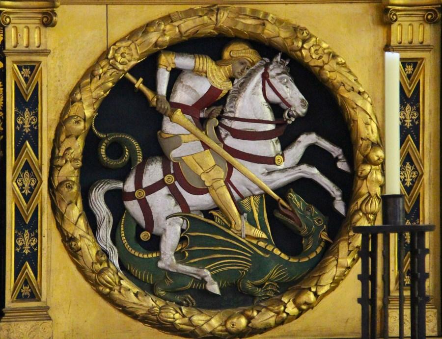 Auf dem Foto ist der Heilige Georg, einer der vierzehn Nothelfer zu sehen.