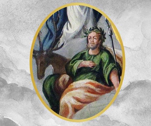 Auf dem Bild ist der Heilige Eustachius mit einem Hirsch zu sehen.