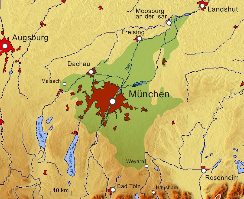 Karte der Münchner Schotterebene