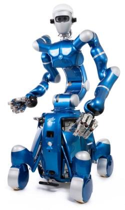 Rollin Justin ist ein Assistenz-Roboter auf vier Rollen, der rund 20 Kilogramm heben kann.