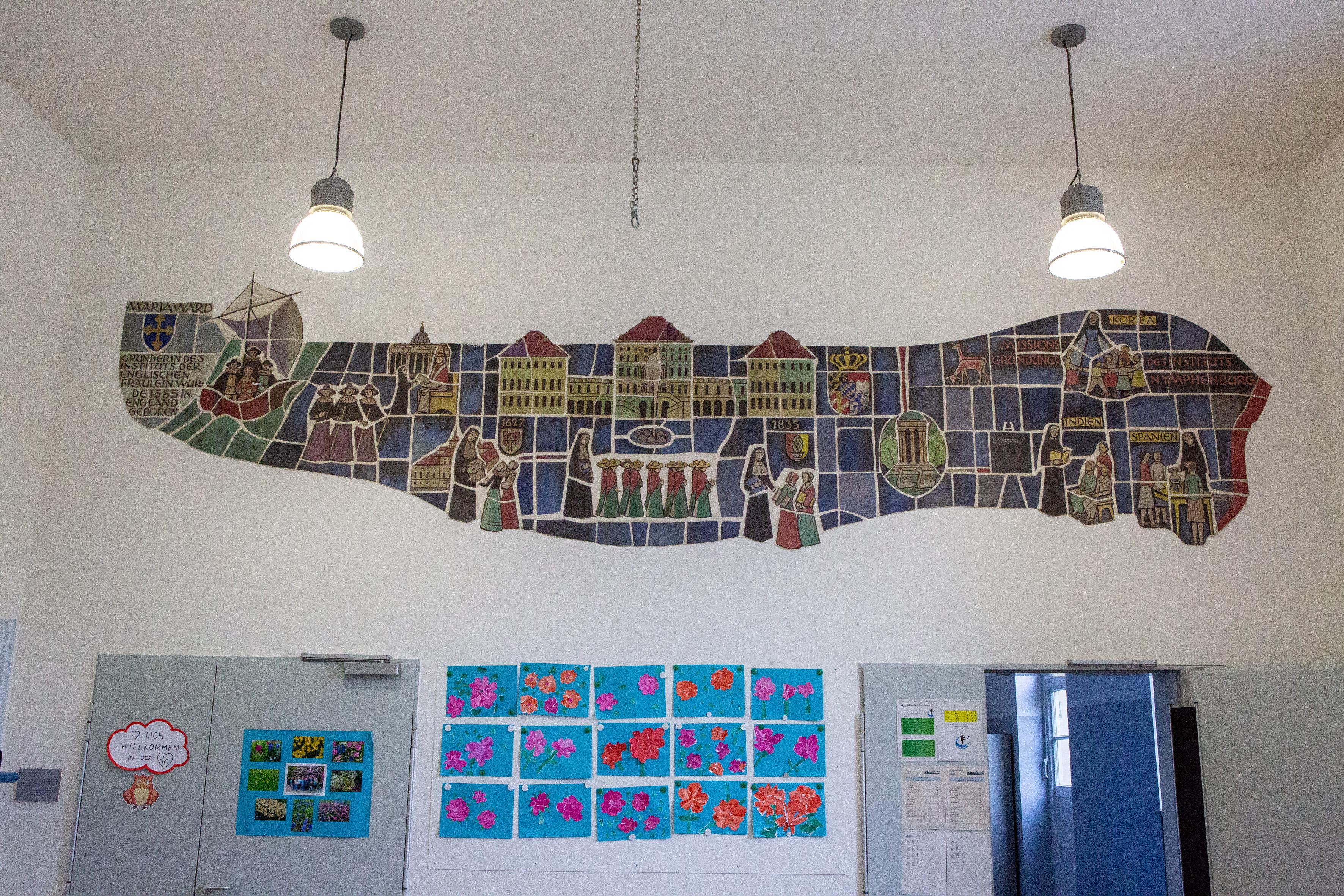 Wandrelief in der Grundschule Maria Ward Straße 1