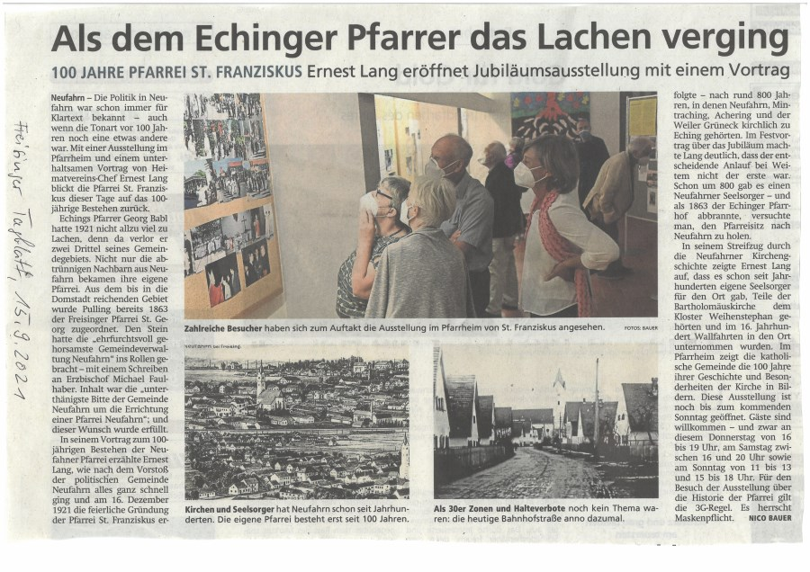 Dreisnger Tagblatt Artikel zur Ausstellung 100jähriges Jubiläum