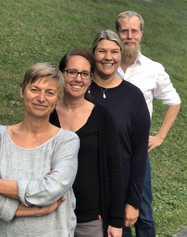 Das Team des Fachreferats Jugend und Schule: Astrid Reschberger, Dr. Julia Szantho von Radnoth, Sabine Fister und Andreas Sang