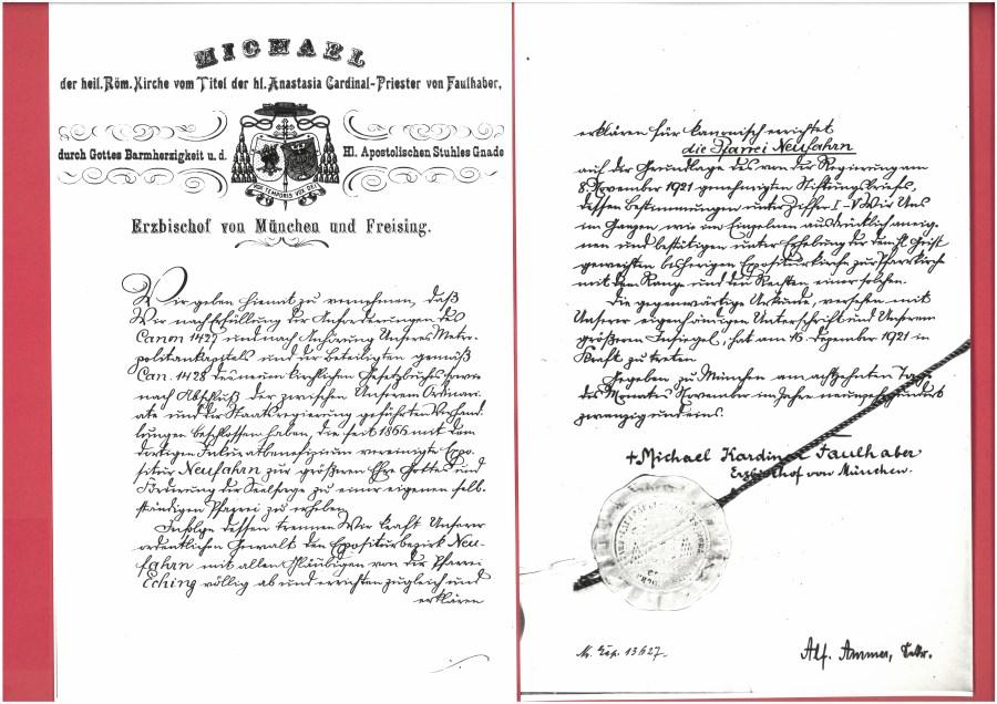 Gründungsurkunde von 1921, in der Kardinal Faulhaber die expositur Neufahrn zur Pfarrei erhebt.